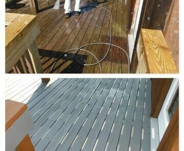 Before and After deck staining
